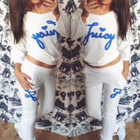 White Graphic Print Sweatshirt and Pants Suit