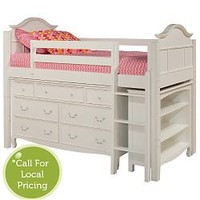 Emma Low Loft Bed w/7 Drawer Dresser and Bookcase