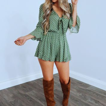 Wanting To Know Romper: Sage/White