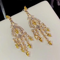 Yellow Cubic Zirconia Party Earring