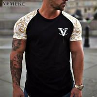 YEMEKE Brand T-Shirts Summer Short Sleeve O-neck Stripe Printed Loose Slim T shirt Mens Tops Tee