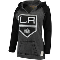 Women's Los Angeles Kings Original Retro Brand Black Relaxed Notched Pullover Hoodie