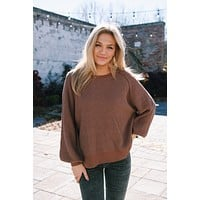 Cordova Textured Sweater, Chocolate
