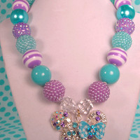 Minnie Mouse Necklace,Rhinestone Minnie, Lavender & Turquoise, Spring Chunky Necklace, Easter Necklace, Chunky Bead Necklace, Girls Necklace