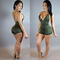 Sexy Combinaison Femme Deep V Backless Rompers Womens Jumpsuit Suede Club Party Romper Bodysuit Women Slim Bodycon Jumpsuit