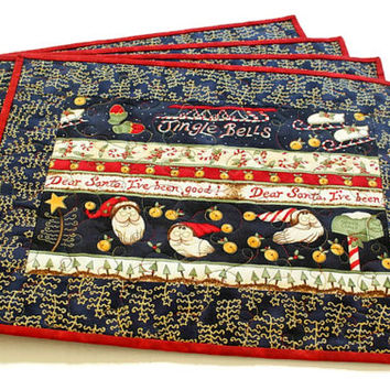 Quilted Christmas Placemats, Table Mats, Blue Placemats, Noel Table Quilts, Santa Mats, Jingle Bells, Set of 4 Placemats, Quiltsy Handmade