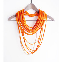 Fabric orange necklace neck ornament loop scarf round scarf