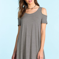 Off Shoulder Stripe Trapeze Dress