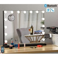 Hansong Large Bluetooth Vanity Makeup Mirror with Lights,Hollywood Lighted Dressing Tabletop Mirror&Wall Mounted Beauty Mirrors with 15 pcs Led Bulbs,Detachable 10X Magnification Spot Cosmetic Mirror Black