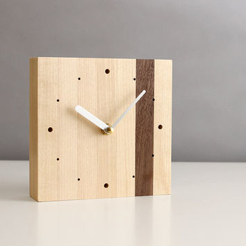 """Modern 5.5"""" square desk clock walnut and birch wood with brushed aluminum hands and dots"""