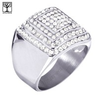 Jewelry Kay style Men's CZ Stoned Stainless Steel Silver Plated Domed Band Pinky Ring SSR 308 S