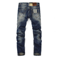 High Quality Men Ripped Button Cotton Jeans
