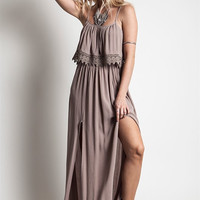 Double Slit Maxi Dress With Lace Detail