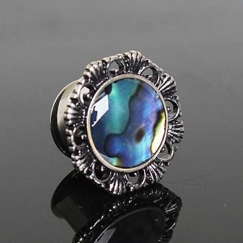 316L Stainless Steel Ornate Plug with Natural Abalone Inlay