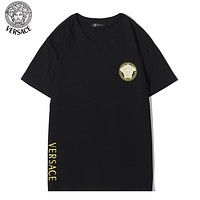 Versace Summer New Fashion Embroidery Letter Human Head Women Top T-Shirt Black