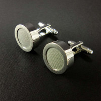 Mens gray cotton cufflinks  - cotton second anniversary gift for him – 2nd anniversary present – slate grey cuff links