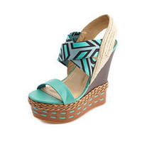 Mixed Media Geo Print Wedge Sandal: Charlotte Russe