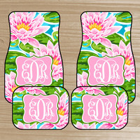 Pink Personalized Car Mats - Water Lily Monogrammed Car Mats - Pink Flower Car Mats - Custom Car Mats - Car Accessories - New Driver Gift