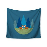 "Cristina Bianco Design ""Cute Baby Deer Illustration"" Blue Green Wall Tapestry"
