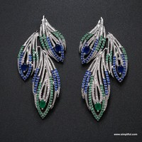 Peacock Feather designer stud Earring