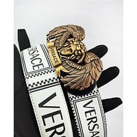 Versace sells fashionable men's and women's printed gold buckle belt casual belt #3