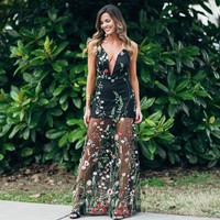 Midnight Meadow Embroider Maxi Dress