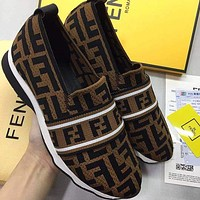 FENDI hot new couple retro print casual sneakers Shoes