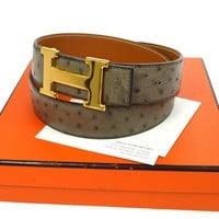 Authentic HERMES Vintage H Buckle Constance Reversible Belt Ostrich Gray N00189