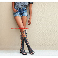 Choudory classic Style Bohemia Gladiator Sandals Woman Flat Peep Toe Thigh High Fringe Boots Lace Up Overknee Boots Ladies Shoes