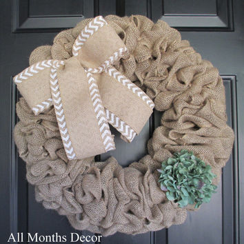 Burlap Wreath with Natural over Chevron Bow & Hydrangea, Rustic Country, Spring Easter Fall, Year Round, Porch Door Decor