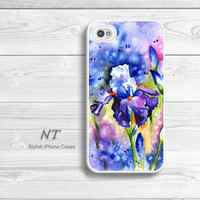 iPhone 4/ 4s 5 Case - Cell Phone Cover - Watercolor Painting Print - iPhone Hard Case - Violet Iris - Natalia Turea Art