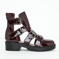 Missguided - Daisy Patent Multi Buckle Ankle Boots