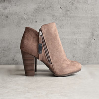 almond toe stacked heel vegan suede booties - taupe