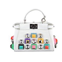 Fendi Women's Peekaboo Micro Crystal and Stud Embellished Satchel White