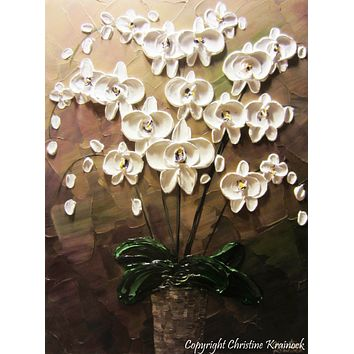 CUSTOM Original Art Abstract Painting Orchids White Flowers Textured Modern Brown Taupe Green Wall Art Wall Decor