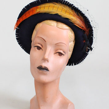 Vintage 1940s Fringe and Feather Winter Hat