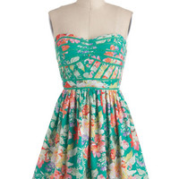 ModCloth Mid-length Strapless A-line Lush with Beauty Dress in Garden