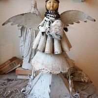 Metal angel statue sculpture French Santos inspired angelic Santero rustic farmhouse style figure salvaged base decor art anita spero design