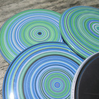 Art from Chemistry. Blue and Green Particle Rings Generative Art on a Large Fridge Magnet, 3 inches diam, Dorm Decor