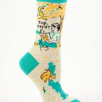 'Sup Nerd Women's Socks with Bookish Girl and Squirrel Friends