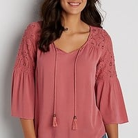peasant top with crochet and flutter sleeves   maurices