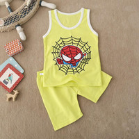 Summer New Brand Baby Boys& Girls Clothing Set Cartoon Spider Man Cotton Children Clothing Vest t shirt+Shorts Kids Boy Clothes Sets