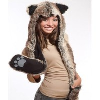 Amazon.com: Wolf Full Hood 3in1 Hat/Scarf/Mittens Faux Fur with Fleece Lining: Toys & Games