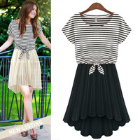 Short Sleeve Striped Top and Pleated Chiffon Dress