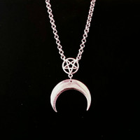 MOON PRIESTESS, crescent moon necklace, inverted pentagram, pentacle, occult symbols, witchy, gothic jewellery, esoteric, satanic, goth, sun