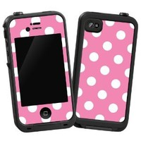 "White Polkadot on Bubblegum ""Protective Decal Skin"" for LifeProof iPhone 4/4s Case"