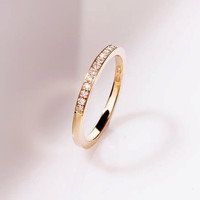 Ready to ship ring size 5.75, Diamond wedding band, 18k yellow gold, ultra thin wedding ring, micro pave, half eternity, simple