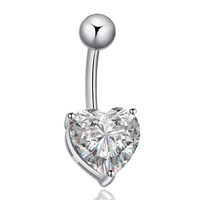 Love Heart Navel Buckle Ring Body Puncture Ornament Accessory Belly Dance   platinum plated white zircon
