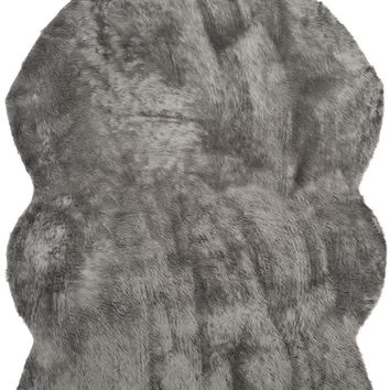 Faux Sheep Skin Novelty Indoorarea Rug Grey