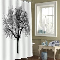 tree silhouette special custom shower curtains that will make your bathroom adorable